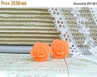 Bright Orange Rose Earrings Rose Stud Earrings Orange Studs Hypoallergenic Orange Rose Studs