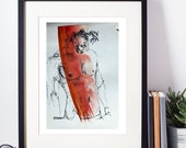 Original Ink Drawing - male figure, male model, watercolor, original art, male nude art, male nude, gay art, original pen & Ink, erotic art