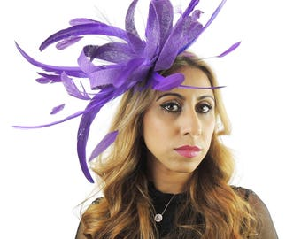 Loops Plus - Purple Fascinator Kentucky Derby or Wedding Hat With Headband (in 40 colours)