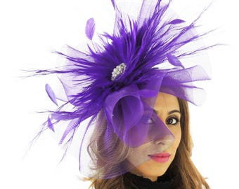 Large Purple Fascinator Ascot Kentucky Derby Proms **SAMPLE SALE**