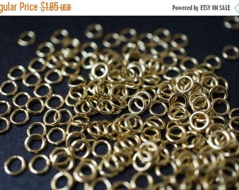 SUMMER CLEARANCE SALE - Vintage Raw Brass Round Jump Rings - 4mm x 0.8mm Thick - 100 pcs