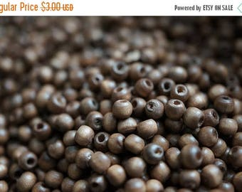 SUMMER CLEARANCE Round Shape Natural Undyed Color Light Chocolate Brown Wood Beads - 3mm - 200 pcs