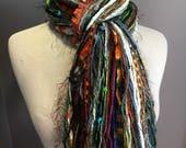 Fringie in Fiesta, Green orange blue brown scarf, handmade fringe scarf with knots, furry yarn scarf, Funky Scarf, artwear