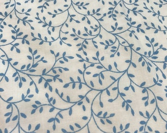 One yard of  vintage sheet fabric. Blue and  white floral