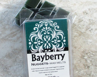 Bayberry scented Wax tarts, Nuggets, Strong scented wax melts, no burn home scenting, classic holiday fragrance, evergreen scent