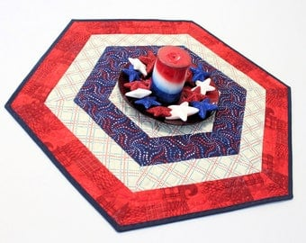 Hexagon Patriotic Table Runner Quilt or Patriotic Candle Mat with Red White and Blue Stars Centerpiece, Quiltsy Handmade Runners