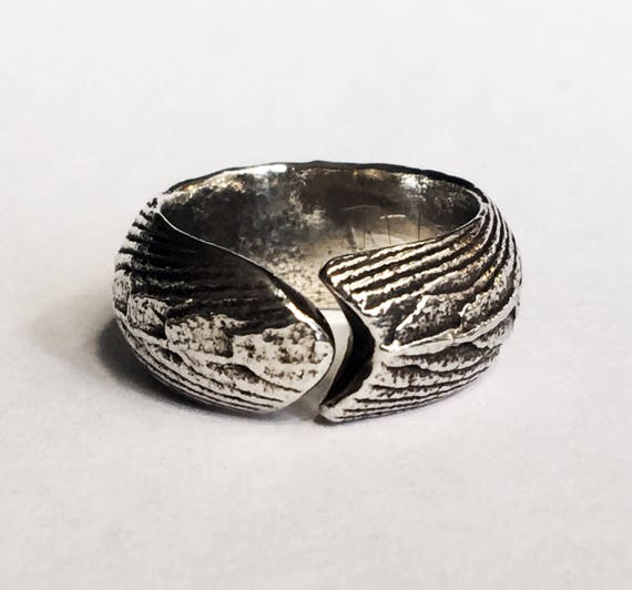 ON SALE!!  Sterling Silver Cuttlefish Cast Dragon Wrap Ring