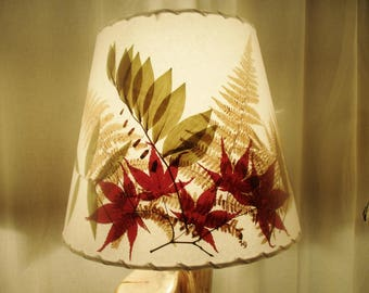 Golden Ferns Botanical Lampshade, Real Pressed Ferns and Japanese Maple Lamp Shade, Rustic Lampshade, Woodland Decor Lighting