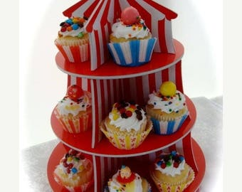 ON SALE Adorable Circus Display Cupcake Tier for Assemblage or Carnival Art