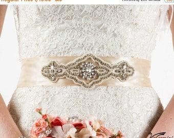 SALE 20% Wedding Sash Belt Vintage, Bridal Belt Vintage, Rose Gold Sash, Wedding Sash Pearl, Blush Sash Belt, Crystal Sash, Crystal Wedding
