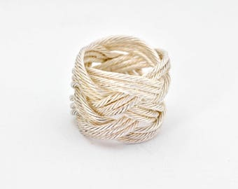 Knot Ring, Woven fine silver ring, Twisted silver wire, Turks Head, monkeys fist, High fashion, Israel, hand fabricated, casual wear, unisex