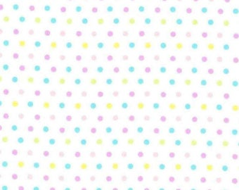 "Pastel Polka Dots Lightweight Cotton Easter Fabric ~ 43"" x 17"" remnant"