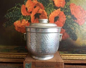 Silver Bucket Vintage Aluminum Metal Ice Bucket Made in Italy