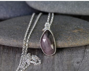 Summer Sale Rose Cut Pink Sapphire Necklace, 6.15ct Sapphire Necklace, April Birthstone Handmade In The UK