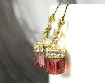 Light Garnet Swarovski Crystal Cube Earrings, Gold Filled, Deep Coral, Drop Dangle, Red Orange Bridesmaid Wedding Jewelry, Summer Limited
