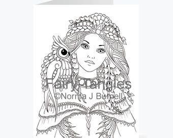 Printable Fairy Tangles Greeting Cards to Color by Norma J Burnell 5 x 7 inch Fairy Owl Greeting Cards Coloring Card Making Fairies to Color
