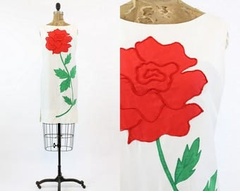 60s Dress Rose Applique Small  / 1960s Vintage Shift Dress  / A Rose By Any Other Name Dress