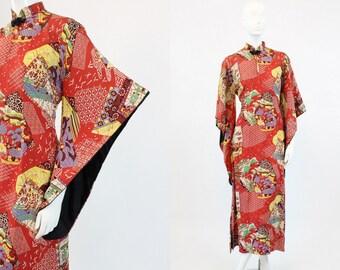 40s Pake Muu Hawaiian Dress Small Medium  / 1940s Vintage Rayon Kimono Dress / Tropicana Dreams Kimono