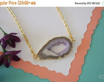ON SALE Geode Necklace Gold, Crystal Necklace, Double Sided Geode Agate Slice, Druzy Pendant, Natural Pendant, Natural Stone, GDSN55