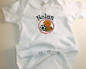 Personalized Embroidered One Piece-Sports; Football, Basketball, Soccer, Baby Boy