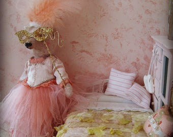 "OOAK Artist Bear 8"" Art Doll- HARRIET - Marie Antoinette Inspired Pink German Mohair Collectible Teddy Bear"