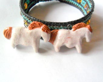 White Glaze over Terra Cotta Clay Indian Pony Horse Bead Pair