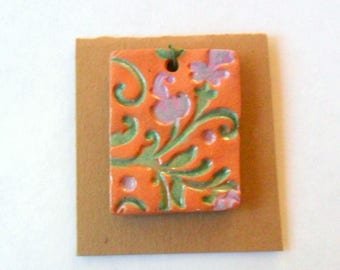 Colorful Flower Glazed Terra Cotta Pendant Finding
