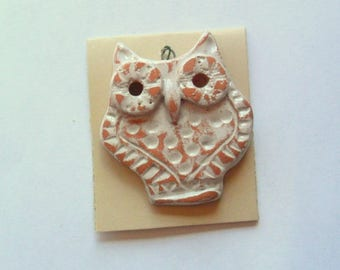 Artisan Owl Large Pendant Finding, Terra Cotta Kiln Fired Clay