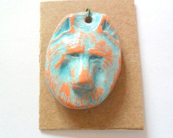 Wolf Head Distressed Turquoise Glazed Terra Cotta Finding