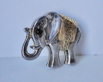 PREMIER DESIGN Silver and Gold Tone Elephant  Brooch Pendant.
