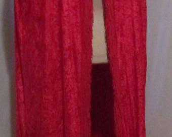 "Red Velour Velvet Hooded Cape with 4"" Red Fringe.  Priestess-Witch-Goth-Vampire"