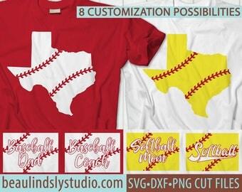 Texas Softball SVG, Texas Baseball SVG, Little League Baseball, Softball Mom, Softball Dad, Softball Coach, Silhouette SVG, Cricut svg File