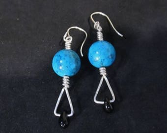 Turquoise and Black Onyx Earrings Sterling Silver