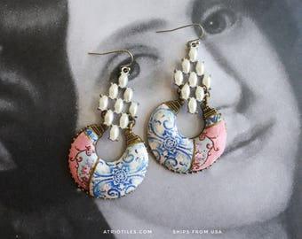 Portugal Earrings Azulejo Tile Chandelier Antique Majolica  FRESCOES and TILES - University of Évora founded  1559   Romantic