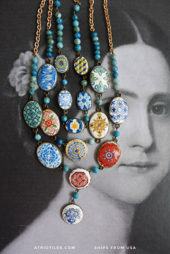 Layered Necklace Portugal Azulejo Tile Necklace 3 in One Convertable  Bib STATEMENT OOAK Majolica Mosaic History Ethnic Persian