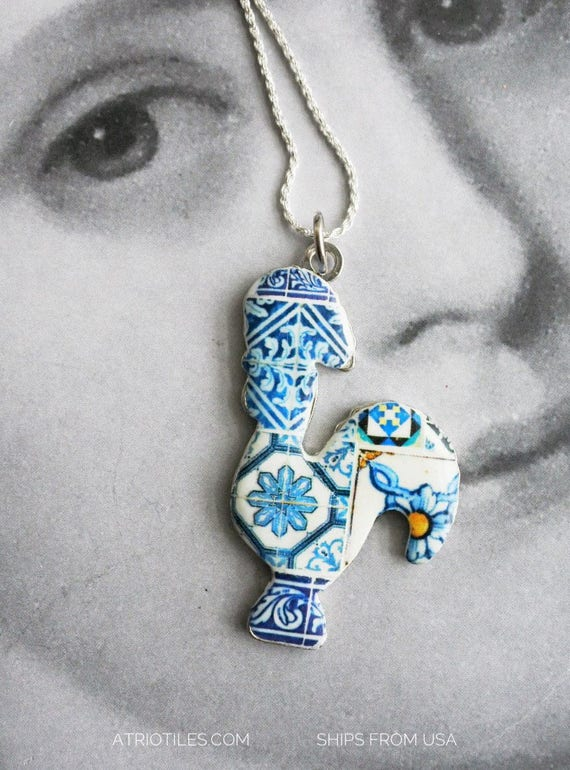 Portugal Rooster Necklace Azulejo Tile Blue  Antique UNISEX Galo de Barcelos -  reversible - Can be worn on either side! Silver Chain