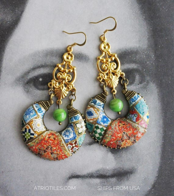 Earrings Chandelier Persian Tile Portugal Azulejo Antique Replica Bohemian Persian Boho Tribal Gypsy Gypsy Ethnic surgical steel earwires