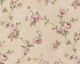 Dollhouse Miniature Shabby Chic Wallpaper Purple Roses Victorian Floral 1:12