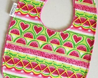 Baby Bib - Watermelons on Hot Pink Minky, Watermelon Baby Bib, Baby Girl Bib