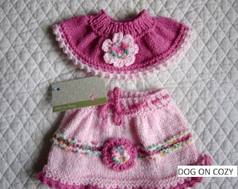 Dog Skirt and Neck Ruffle, Hand Knit for Pet, Size SMALL, Pink
