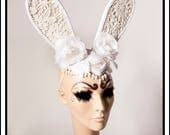 White Rabbit  ... White and Lace Damask Bunny Ears With White Flowers Roses Fascinator Headdresss Costume Animal