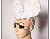 Lacy Lovely... White Mouse Ears With Lace Pearls White Roses Minnie Mouse Cosplay
