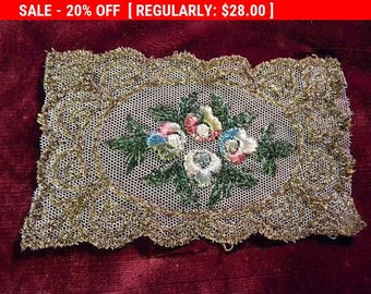 Antique Applique Metallic Edwardian Silk Embroidered Lace Rosettes