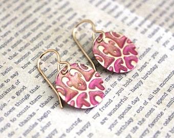 Small Petite Earrings, Vintaj Earrings, Vintaj Jewelry, Pink Gold Jewelry, Boho Jewelry, Dainty, Patina Jewelry, Brass Jewelry, Etruscan