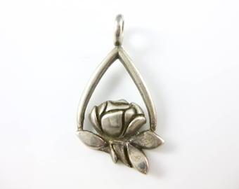 Vintage Sterling Silver Flower Pendant