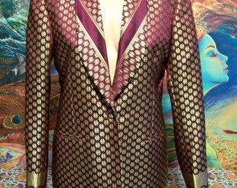 Thai Jacket, Bangkok, Coat, Maroon, Gold, Formal, Party, Unisex, size S/M
