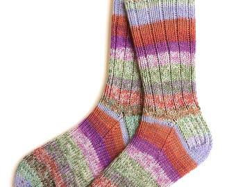 Socks for Women, Girls, Handknit Socks, wool socks, DK weight, striped socks, green and purple socks, knitted socks, gift for women