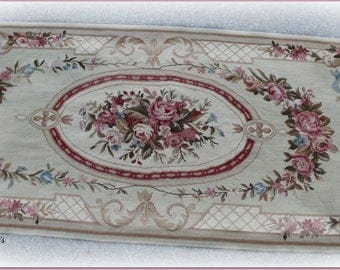 vintage  French aubusson rug~ runner ribbons & cabbage ROSES with ROSE GARLANDS