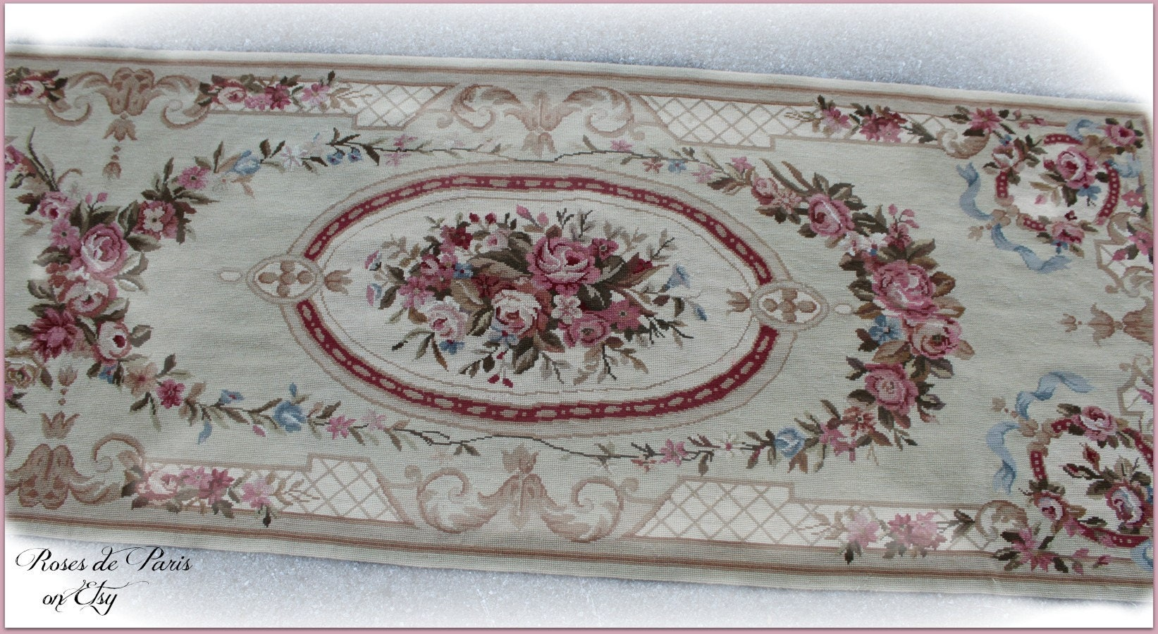 Vintage French Aubusson Rug Runner Ribbons Amp Cabbage Roses