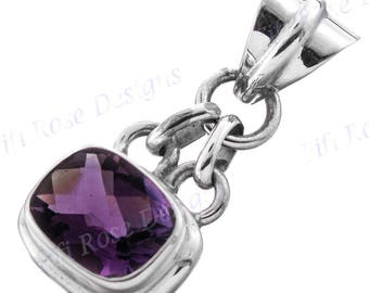 "1 1/16"" Gorgeous Amethyst 925 Sterling Silver Pendant"